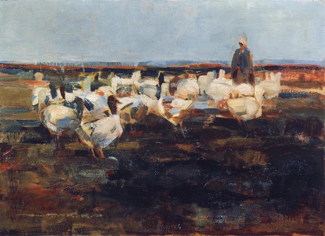 Gänseherde auf der Weide von Demeter Koko