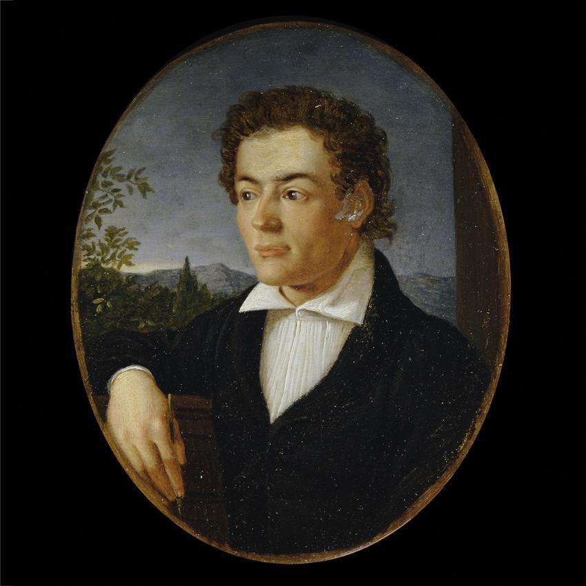 Brustbild eines jungen Mannes vor einer Abendlandschaft von Philipp Otto Runge