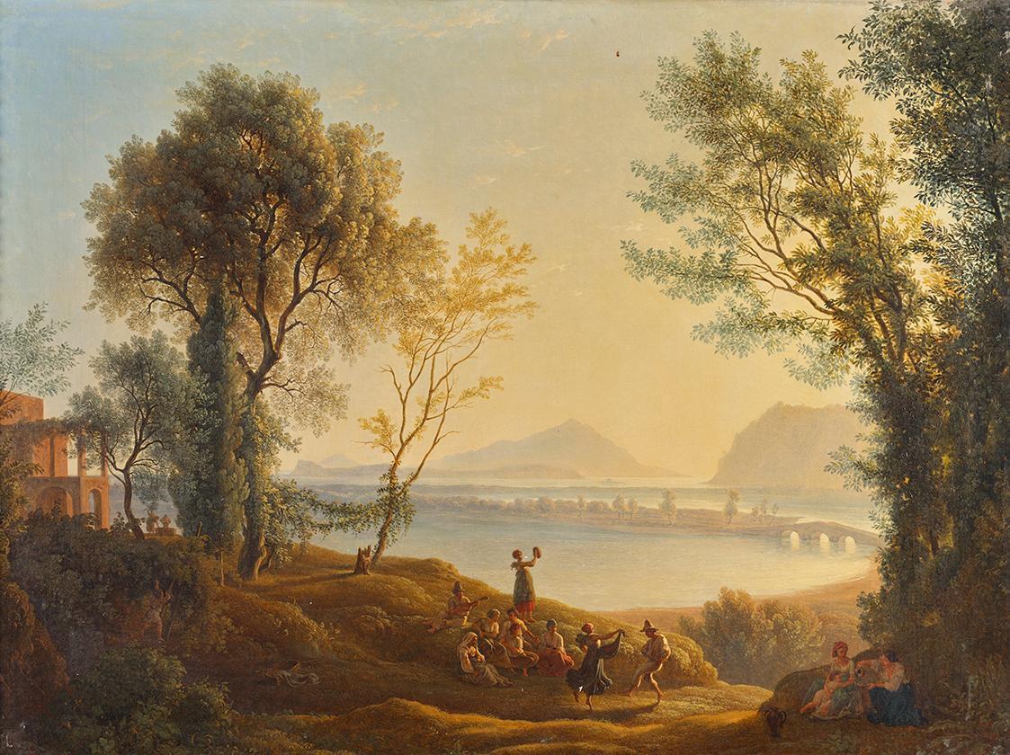 Italienische Landschaft mit Sonnenuntergang von Joseph Rebell