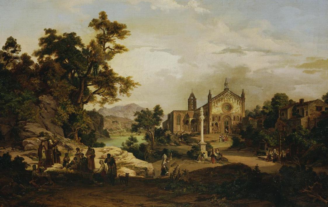 Italienische Landschaft mit Pilgern von Georg Petzolt