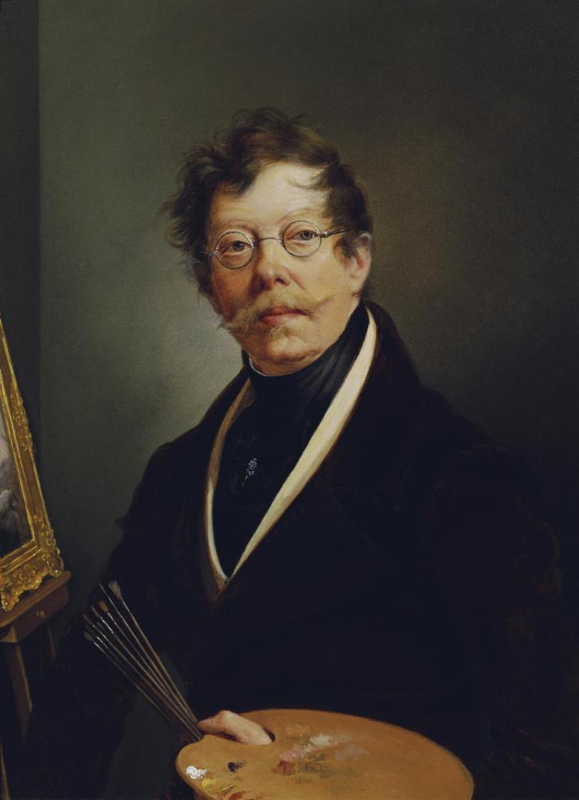 Selbstbildnis an der Staffelei von Friedrich Johann Gottlieb Lieder