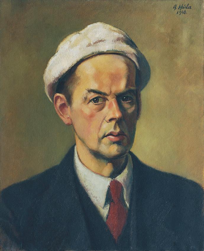 Selbstbildnis mit weißer Mütze von Anton Hula