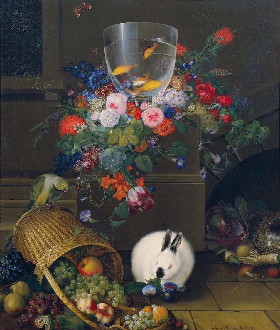 Stillleben mit Goldfischglas von Johann Knapp