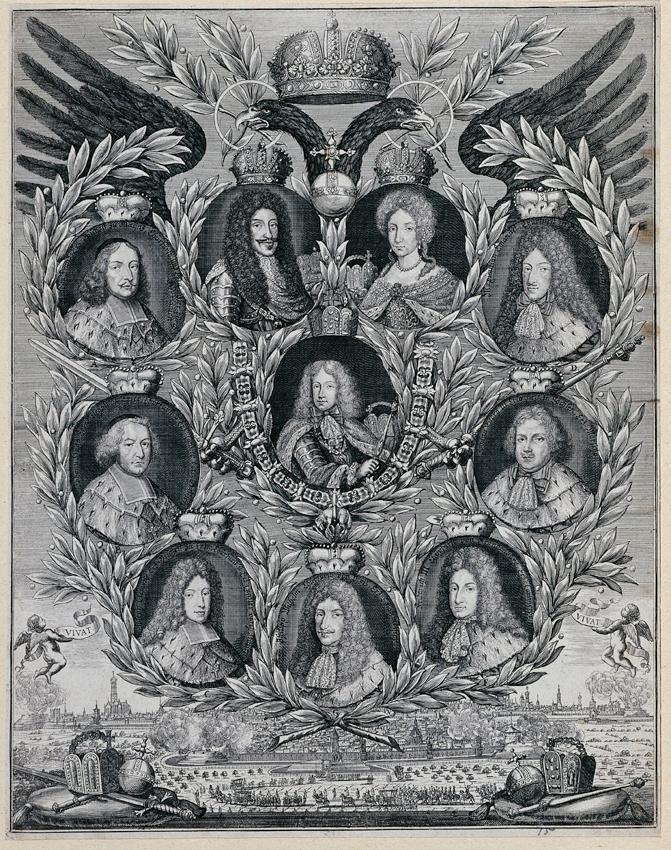 Joseph I. mit Eltern und Kurfürsten von Unbekannter Stecher