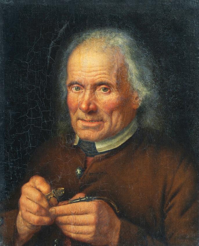 Alter Bauer, sein Pfeifchen stopfend von Johann Baptist Höchle