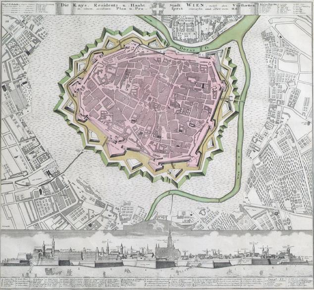 Plan der inneren Stadt von Wien mit den Befestigungen und den zunächst liegenden Vorstädten von Unbekannter Stecher