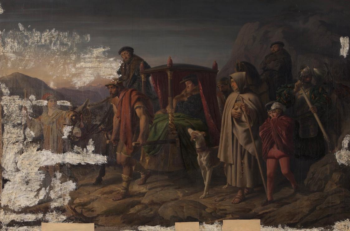 Kaiser Karl V. auf der Flucht vor Moritz von Sachsen von Karl Swoboda