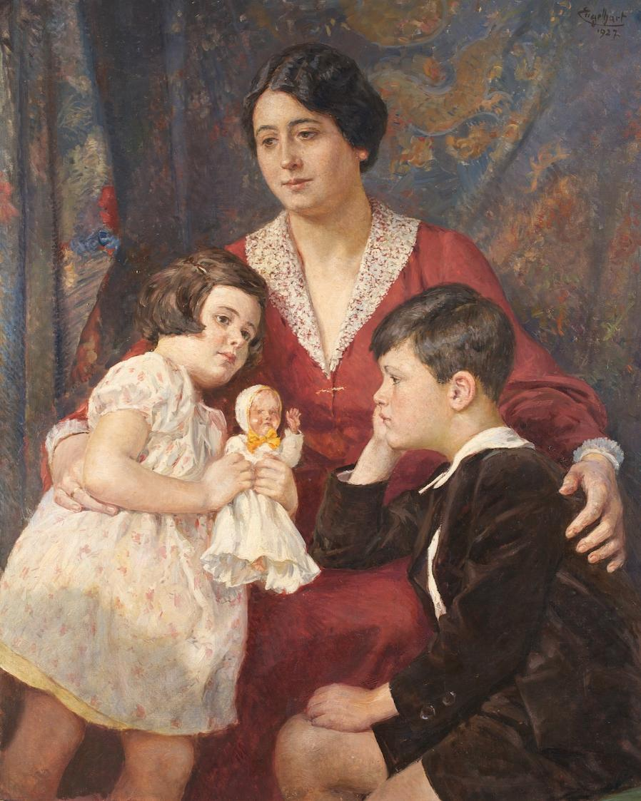 Frau Hirsch mit ihren Kindern von Josef Engelhart