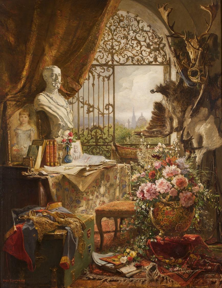 Stillleben mit Büste des Kronprinzen Rudolf von Hugo Charlemont