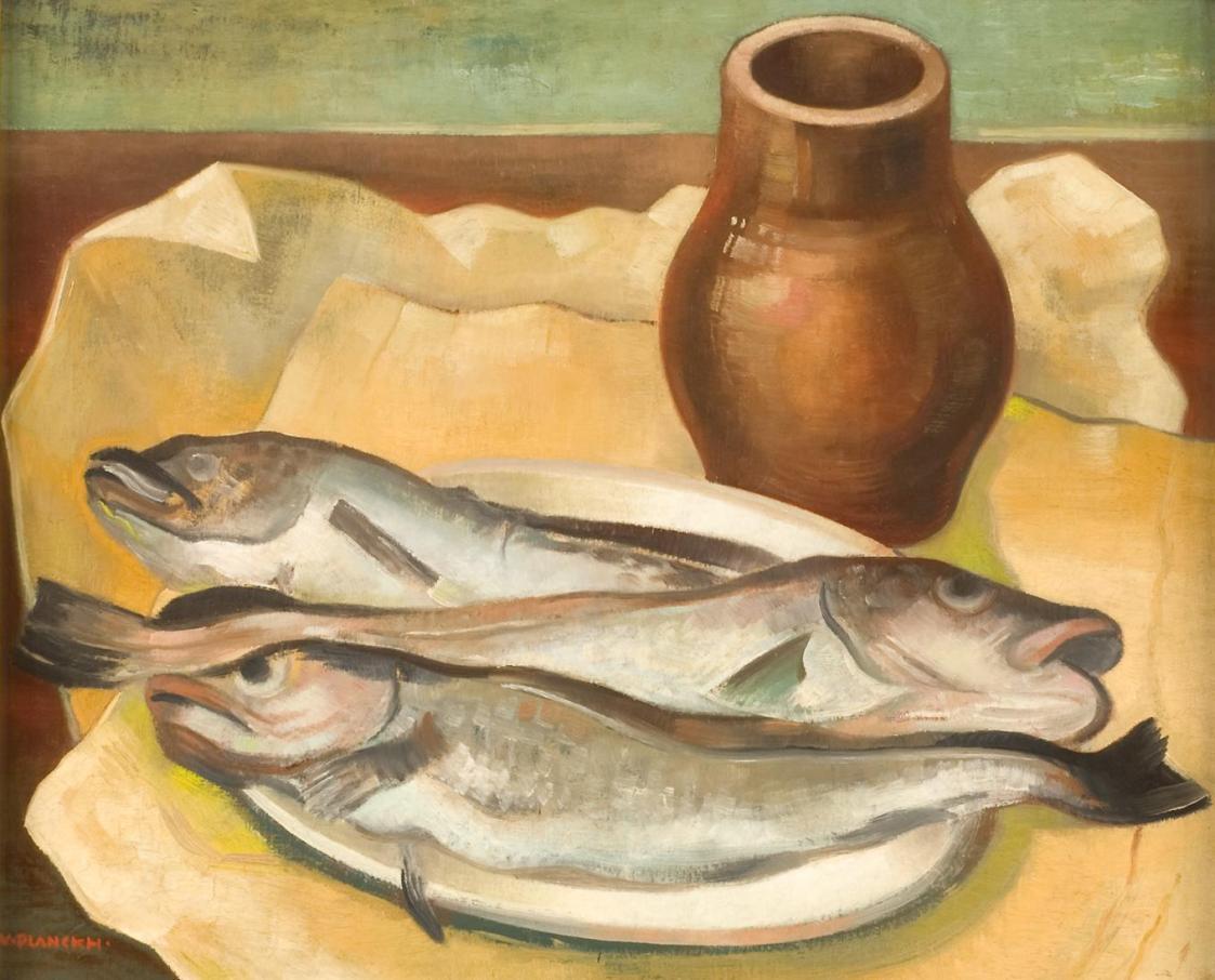 Stillleben mit Fischen von Viktor Planckh