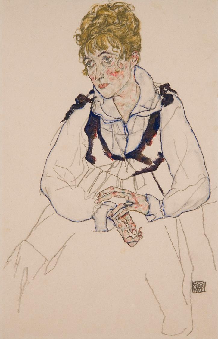 Die Frau des Künstlers, sitzend von Egon Schiele