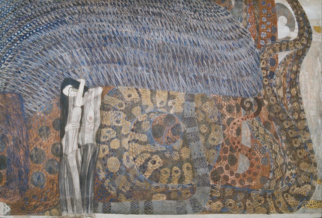 """Beethovenfries: """"Die feindlichen Gewalten"""" (Tafel 2, Stirnwand) von Gustav Klimt"""