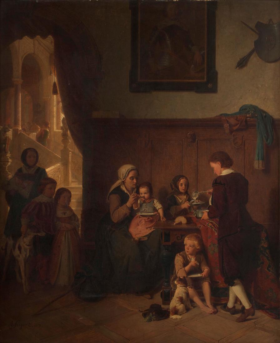 Bewirtung einer armen Familie von August Friedrich Siegert