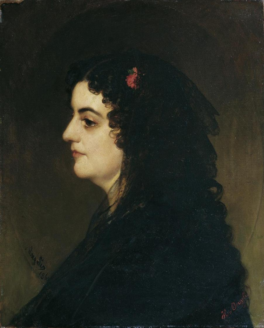 Dame im Profil mit Schleier und Nelke von Heinrich von Angeli