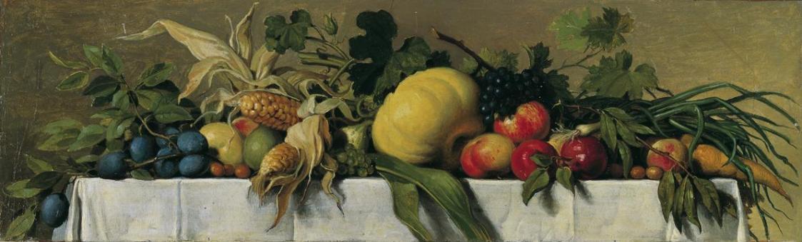 Stillleben mit Obst und Gemüse auf weißem Tischtuch von Johann Peter Krafft