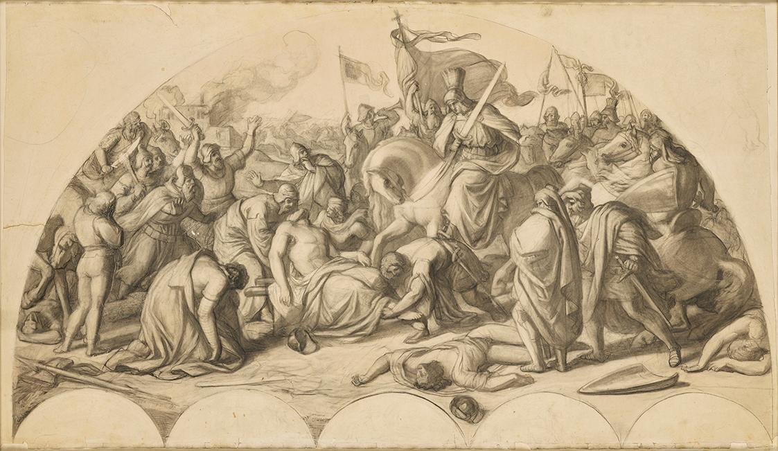 Rudolf I. von Habsburg an der Leiche Przemysl Ottokars II. von Böhmen von Carl Rahl